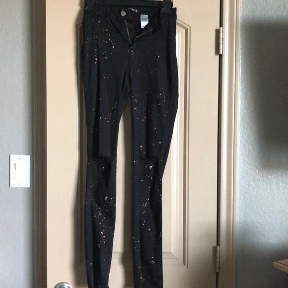 Fashion Nova Denim - Bronze Paint Splatter Jeans